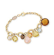 New Solid 14k Yellow Gold And Gemstone Statement Dangle Bracelet