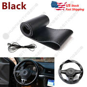 Us Harness+ Leather Car Steering Wheel Cover Anti-slip Protector Fit 38cm 15inch
