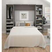 Bestar Cielo Classic 98 Full Wall Bed Kit In Bark Gray And White