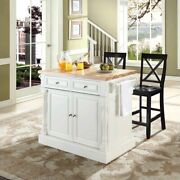Crosley Oxford Butcher Block Top Kitchen Island With X Back Stools In White