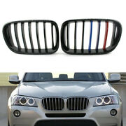 Gloss Black Car Front M-color Grill Fit For Bmw F25 X3 11-13 Abs Plastic Auto
