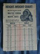 Vintage Maltex Maypl Oats Cereal Height Growth Chart Poster Collectible Kid