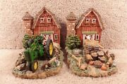 Two John Deere Bookends Heavy Resin Farm Scene Tractor Red Barn Crops Rooster