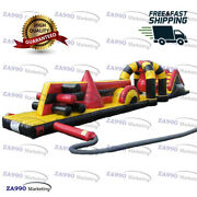 50x6.6ft Commercial Inflatable Course Obstacle And Slide For Pool With Air Blower