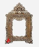 Mother Of Pearl Moroccan Design Hand Craved Wall Mounted Table Top Mirror Brown