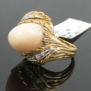 Vintage 0.15ct Diamond And 8.0ct Natural Pink Coral 18k White And Yellow Gold Ring