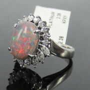 Vintage 2.38ct Natural Black Opal And 0.59ct Diamond Platinum Cocktail Ring