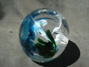 Jerpoint Glass Studio Ireland Humming Bird Orchid Controlled Bubble Paperweight