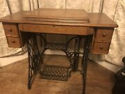 Singer Treadle Sewing Machine Model Au 52-30-31converted To Electric