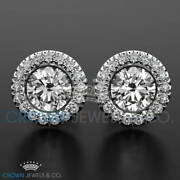 Halo Diamond Stud Earrings 0.7 Ct Enhanced Brilliant Cut 18k White Gold