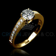 1 1/3 Carat Promise Diamond Ring F Vs1 Enhanced Solitaire With Accents