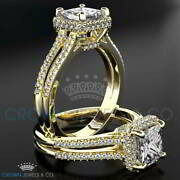 Princess Cut Bridal Diamond Ring F Si2 1.6 Ct Accented Solitaire Size 5 6 7