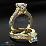 Wedding Diamond Ring F Si Princess Cut 1.40 Carat Solitaire With Accents