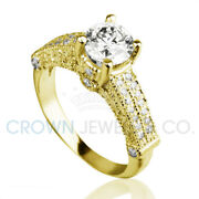 Round Cut Bridal Diamond Ring F Vs1 2 Ct Accented Solitaire Size 5 6 7