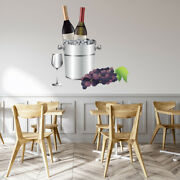 Wine Bottles Grapes Glass Wall Decal Sticker Ws-47332