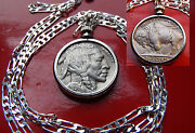 1936-1937 Mint Full Horn Buffalo Nickel On A 20 925 Sterling Silver Chain
