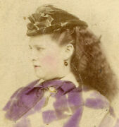 Beautiful Dark Haired Woman In Profile. Exquisite Tinting. Cdv. Delaware, Ohio.