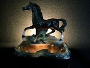 Working Vintage Brown Horse Mustang Stallion Ceramic Tv Lamp Planter 1950and039s-60and039s