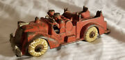 Antique Cast Iron Arcade 6 1/2 Fire Truck With White Rubber Wheels No 1 - 2255