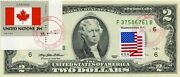 2 Dollars 1995 Stamp Cancel Flag Of Un From Canada Lucky Money Value 125