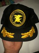 Vintage Nra Trucker Hat Embroidered Patch - Black Gold Snapback - Mesh Rifle Usa