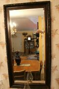 Antique Arts And Crafts Movement Three Color Carved Wood Beveled Edge Wall Mirror