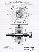 Tesla Alternating Current Generator Poster - Patent Poster - Office Art - Wall A