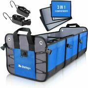 Starling's Car Trunk Organizer - Durable Storage Suv 3 Compartments, Blue