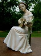 Vintage Large Bing And Grondahl Figurine - Woman Playing Guitar - 1st Quality