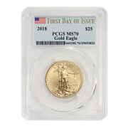 2018 25 Gold Eagle Pcgs Ms70 First Day Of Issue 1/2oz 22kt American Modern Coin