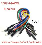 24awg Dupont Wire Jumper Breadboard Cable Wires Male To Female 8-colors 10cm