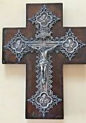 Antique Rare Approx. 133 Gr. Handmade Sterling Silver Catholic Cross On Wood