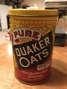Quaker Rolled White Oats Tin 1984 Limited Edition Label With Recipes