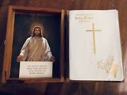 Vintage 60's 70's Holy Bible Wooden Box W/ White Illustrated Bible Union Detroit
