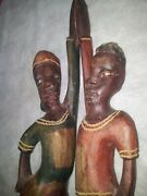 Antique Hand Carved Wooden Statue African Tribal Very Old Figure Woman And Man