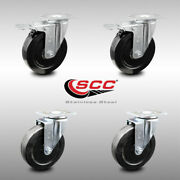 Ss Hard Rubber Caster Set Of 4 W/5 Wheels - 2 W/ttl Brakes And 2 Swivel