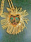 Vintage Lion Mane Rhinestone Face Pendant/pin Necklace By Marcia Brown