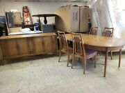 Vintage 1960s Drexel Meridian Collection Buffet And Dining Table Set