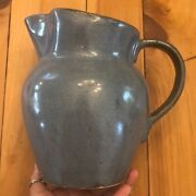 Antique Roseville Pottery Blue Slate Water Pitcher 8 1/4 Tall
