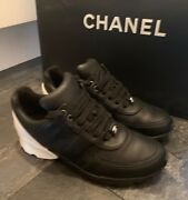 Black And White Leather Sneakers Trainers Sold Out Size Uk 5.5 Eu 38.5 Vgc