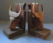 Pair Of Chinese Wooden Bookends - Buffalo Heads - Late 19th Century