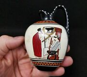 Antique Greek Pottery Souvenir Detail Of A Skyphos Hand Painted And Signed