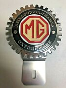 New Vintage Mg Oxfordshire License Plate Topper- Chromed Brass -great Gift Item