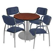 Via 30 Round Platter Base Table- Cherry/grey And 4 Uptown Side Chairs- Navy