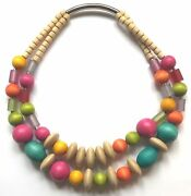 Aarikka Ateljee Finland - Beautiful Necklace With Colorful Natural Wood Beads