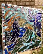 Stained Glass Mosaic Panel Transom W Brazilian Agates Abstract Ooak