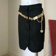 Moschino Cheap And Chic Button Front Skirt W/ Sown In Gold Tone Chain Size It 44
