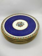 Fab 20and039s Cauldon And Co Blue Enamel And Gold Texture Design 6pc Plates 9 D