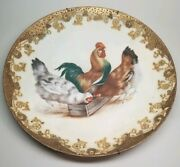 Antique Haviland And Co Limoges France Chickens Rooster Bird Charger Plate 12-3/8