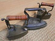 3 Antique Flat/box Irons With Makers - 2 With Sliding Backs 675 Deepfields No.12